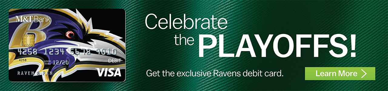 Get the exclusive Ravens debit card.